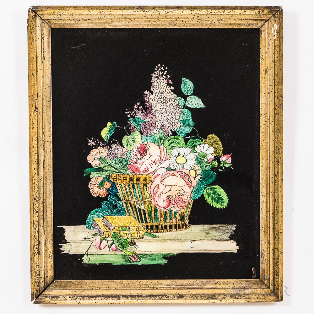 Five Gilt- and Silver-framed Tinsel Pictures