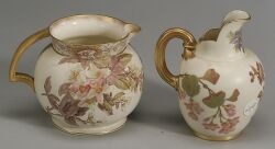 Two English Porcelain Handpainted and Parcel Gilt Pitchers
