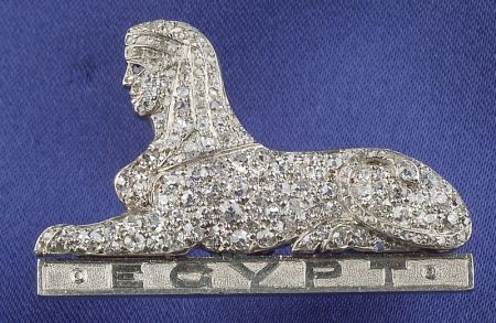 Egyptian Revival Platinum and Diamond Regimental Brooch
