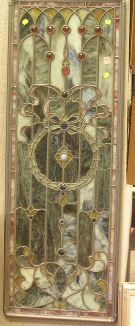 Victorian Jeweled Leaded Slag Glass Architectural Window Panel.
