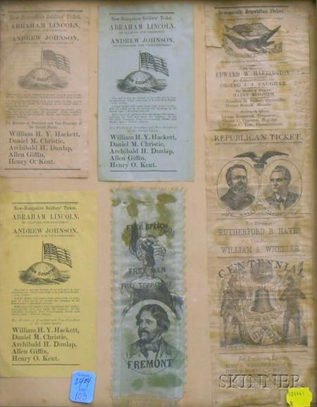 Five 19th Century New Hampshire Campaign Tickets and a Fremont Campaign Printed Silk   Ribbon
