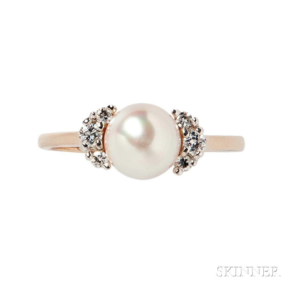 18kt Gold, Cultured Pearl, and Diamond Ring, Tiffany & Co.