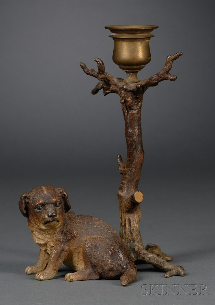 Austrian Cold Painted Bronze Figural Candlestick