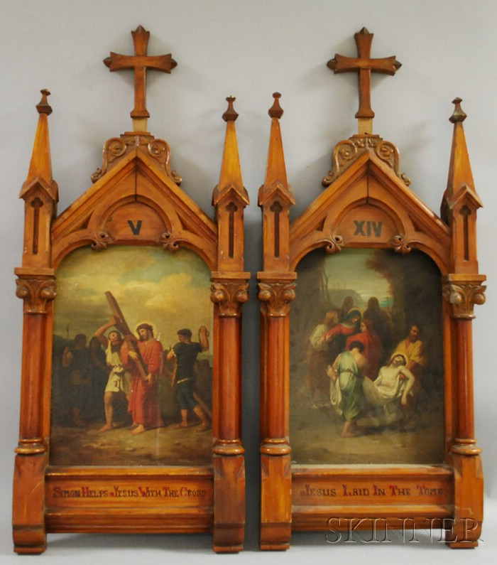 Continental School, 19th/20th Century Lot of Two Oil Paintings of Stations of the Cross, in Gothic-style Frames: Simon Helps Jesus w...