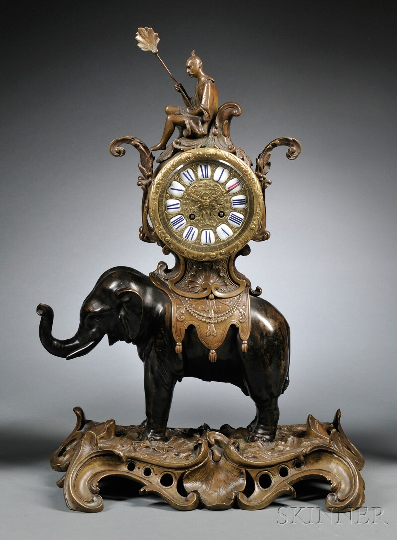 Bronze Elephant Clock