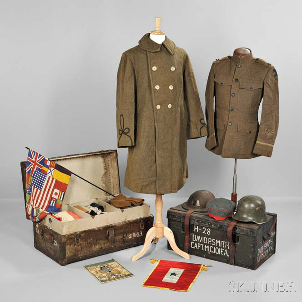 """Trunks, Uniforms, and Equipment Owned by Captain David Parker Smith, 26th """"Yankee"""" Division"""