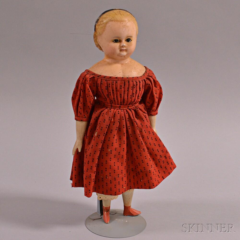 Wax Head Blonde-haired Girl Doll