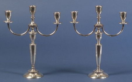 "Pair of Mueck-Cary Co. Sterling ""Flanders"" Three Light Convertible Candelabra"