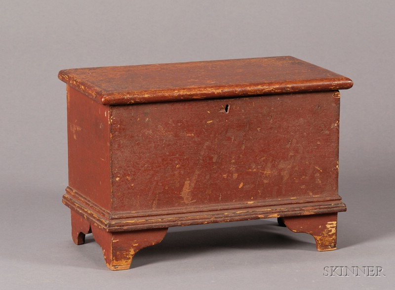 Miniature Red-painted Six-Board Chest
