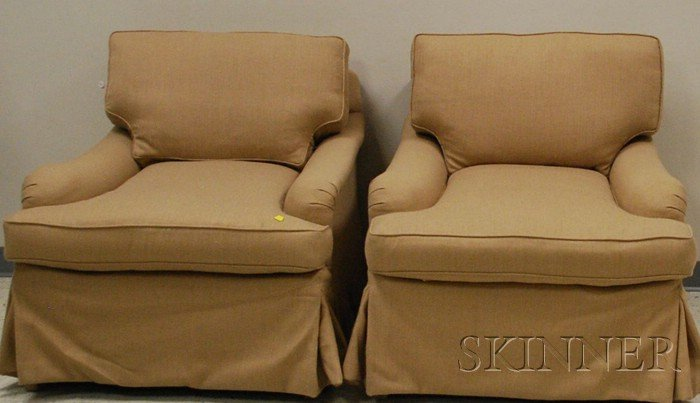 Two Modern Wool Upholstered Armchairs.