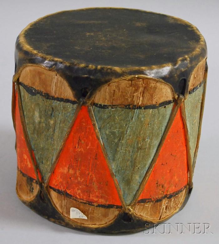 Native American Painted Hide Drum