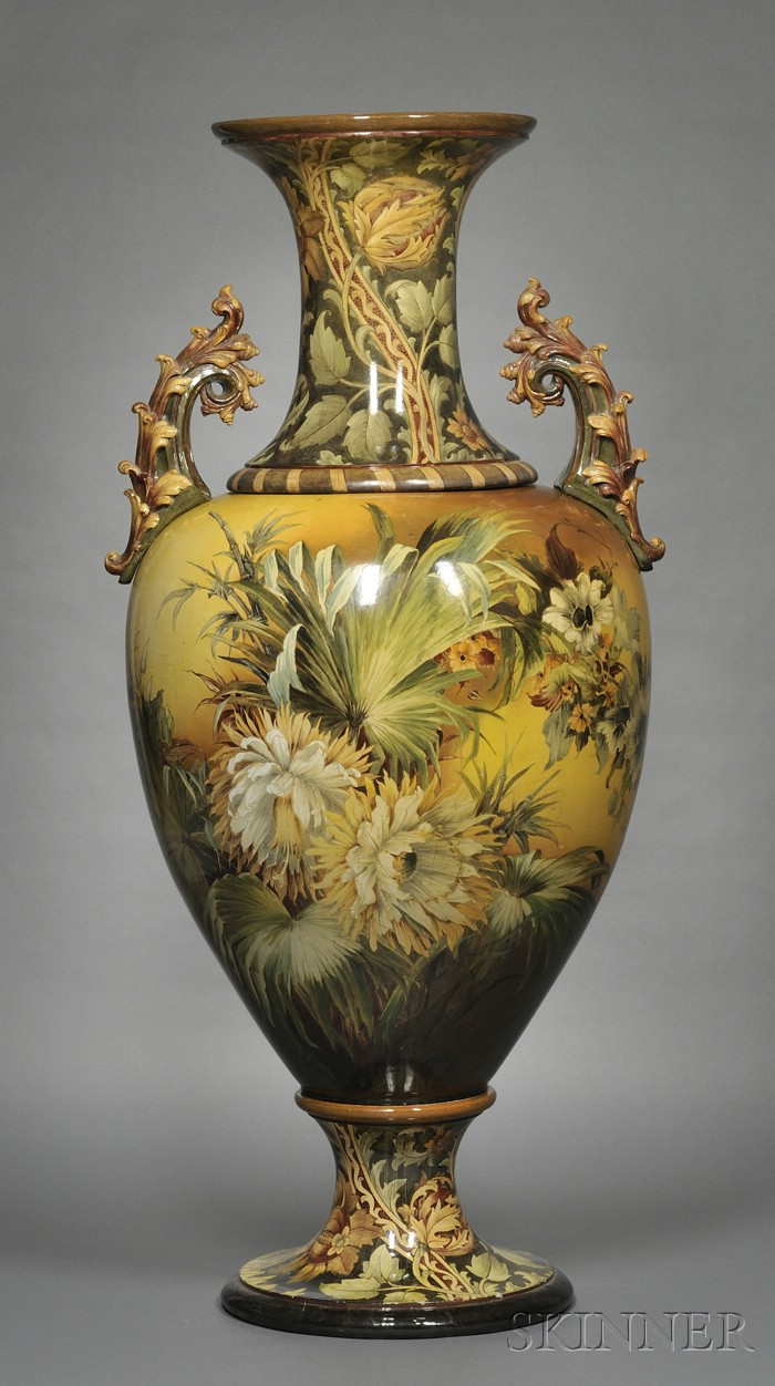 Large Doulton Lambeth Faience Floor Vase
