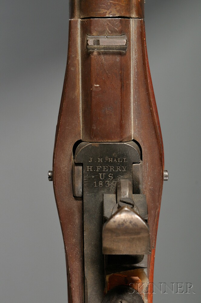 U.S. Hall Model 1819 Breech Loading Flintlock Rifle and Bayonet