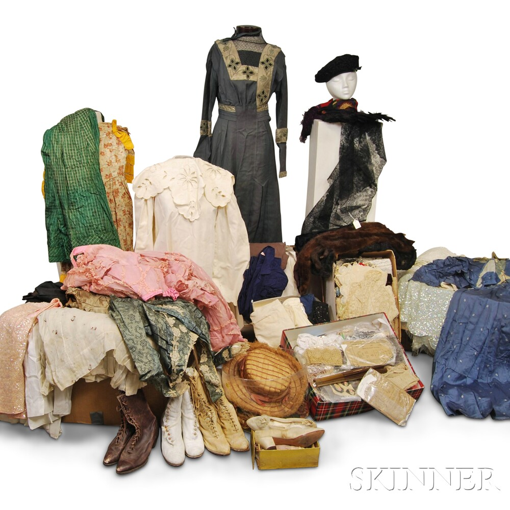Large Group of Vintage Clothes and Textiles.     Estimate $300-500