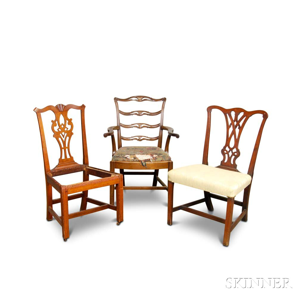 Three Chippendale Mahogany Chairs