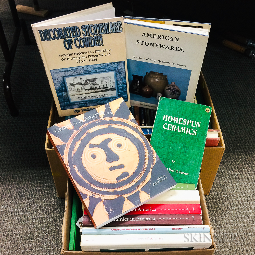 Two Boxes of Books on American Pottery and Ceramics.     Estimate $20-200