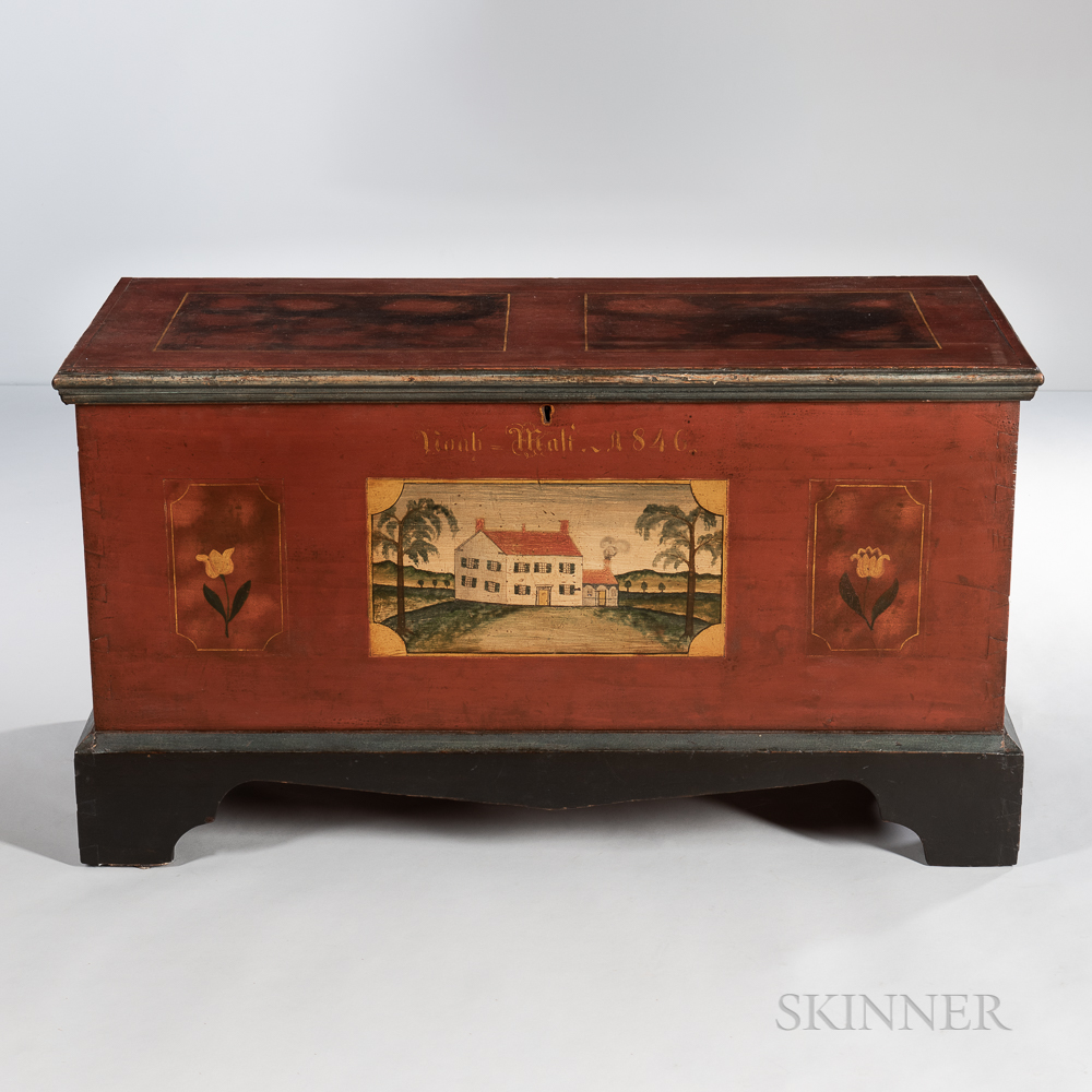 """Paint-decorated Dower Chest """"Noah Mali,"""""""