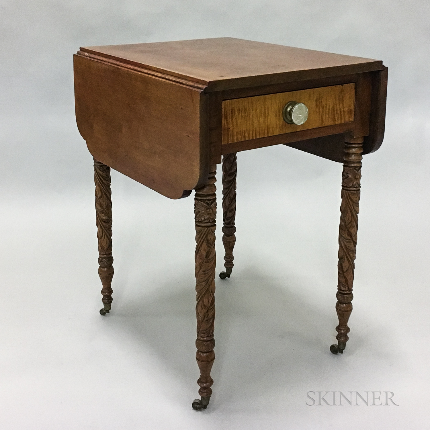 Late Federal Carved Cherry and Tiger Maple One-drawer Drop-leaf Worktable