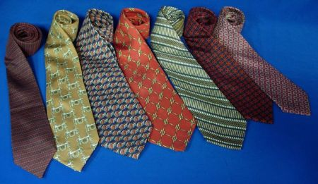 Seven Vintage Hermes Silk Men's Neckties