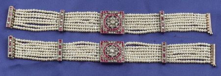 Pair of Pearl, Ruby and Diamond Bracelets