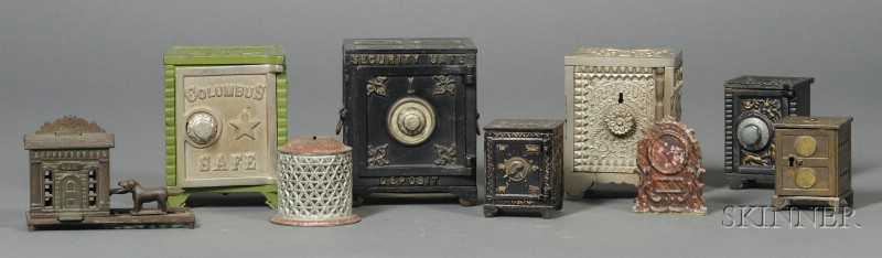 Seven Cast Iron Banks and Two Tin Banks