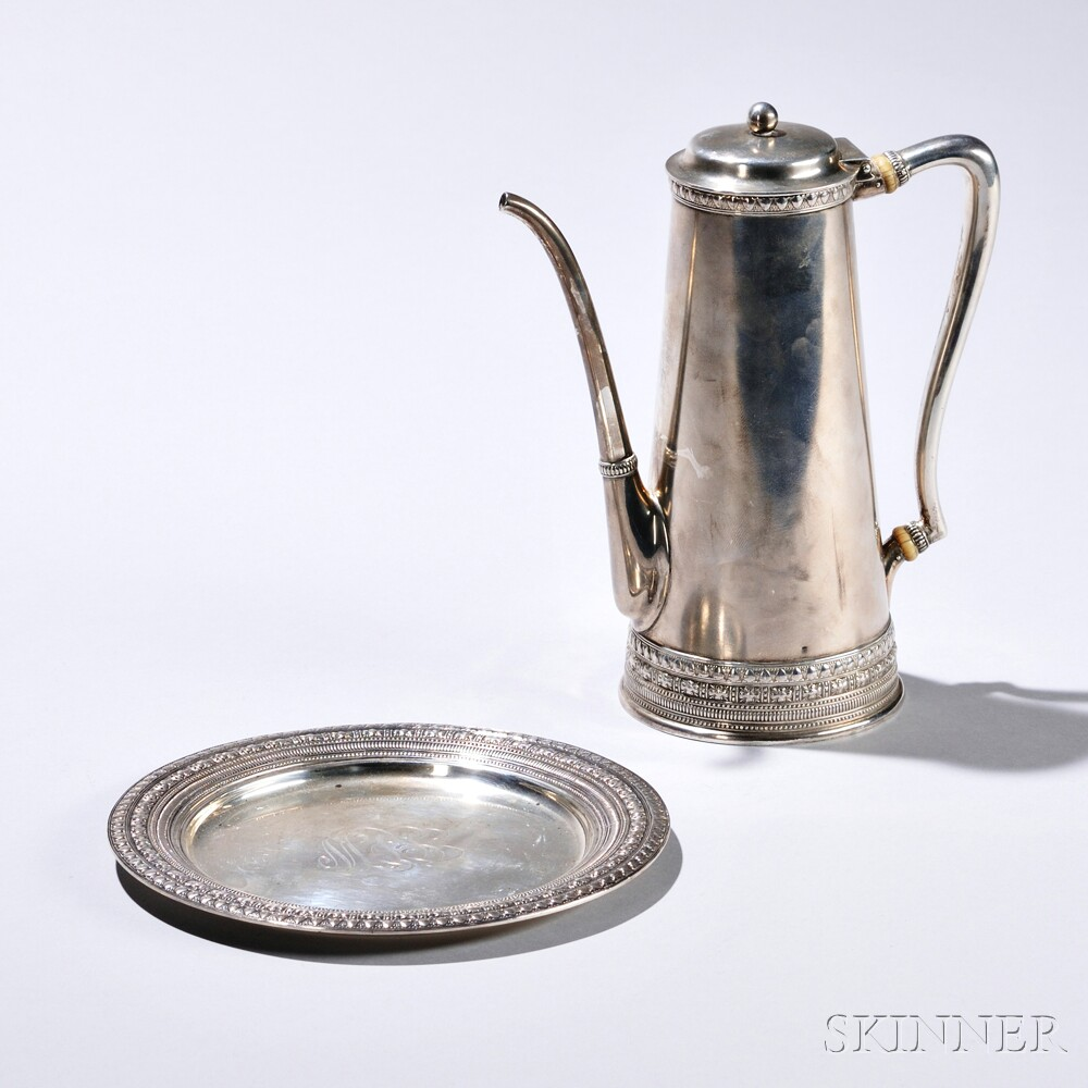 Tiffany & Co. Sterling Silver Coffeepot and Plate