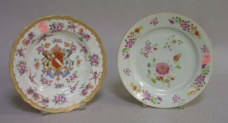 Samson Enameled Armorial Decorated Porcelain Plate and a Chinese Export Porcelain Plate.