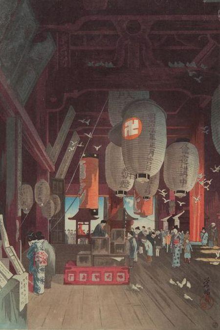 Narazaki Eisho: Interior of the Kannon Temple at Asakusa