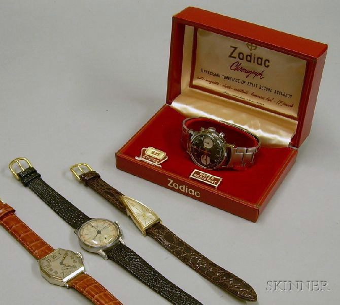 Vintage Buren Stainless Steel 17-jewel Mans Chronograph Wristwatch, a Boxed Zodiac Stainless Steel 17-jewel Ma...
