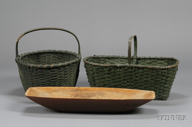 Red Painted Chopping Bowl and Two Green-painted Woven Splint Baskets