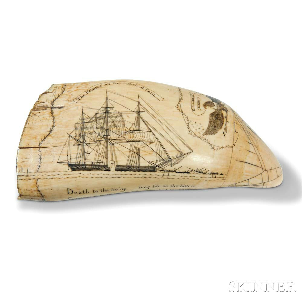 Scrimshaw Whale's Tooth Showing the Frances   of New Bedford