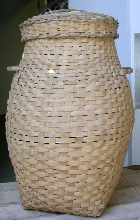 Covered Woven Splint Two-Handled Feather Basket.