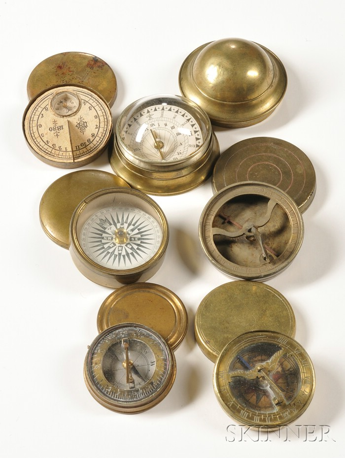 Six Brass Cased Miniature Pocket Sundials of Various Period and Origin