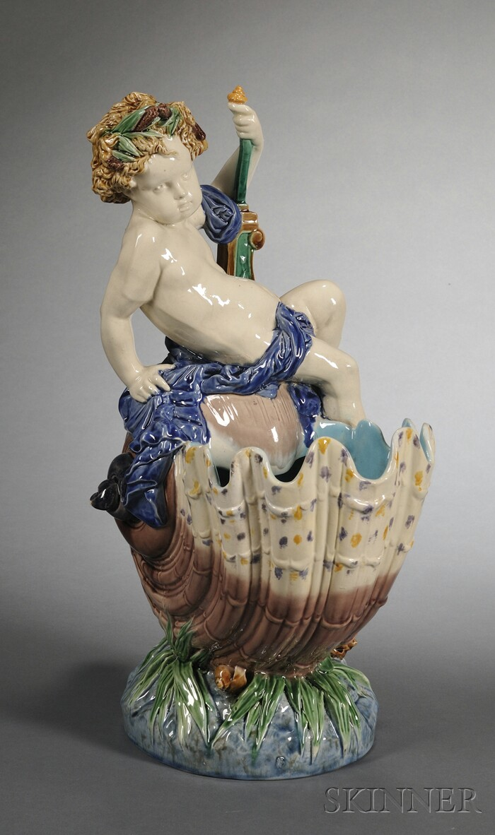 Minton Majolica Compote of a Boy on a Shell