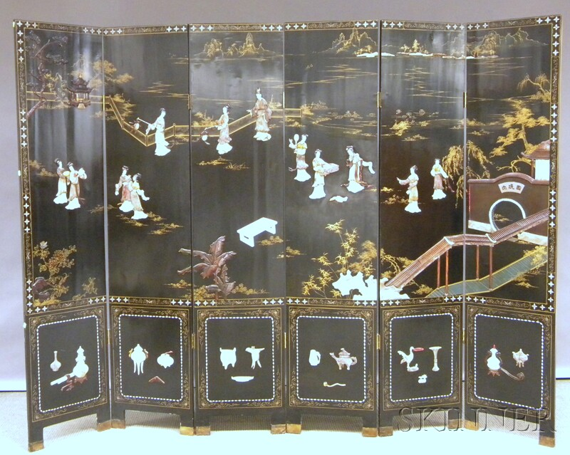 Asian Export Gilt and Carved Hardstone Scenic-decorated Black Lacquer Six-panel   Floor Screen