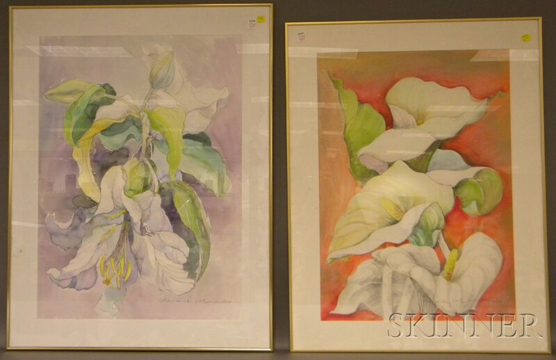 Denise Schwander (Swiss, b. 1945)      Four Works:  Hibiscus, Amaryllis, Lilies  , and Calla Lilies