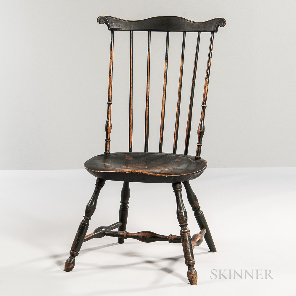 Green-painted Fan-back Windsor Side Chair