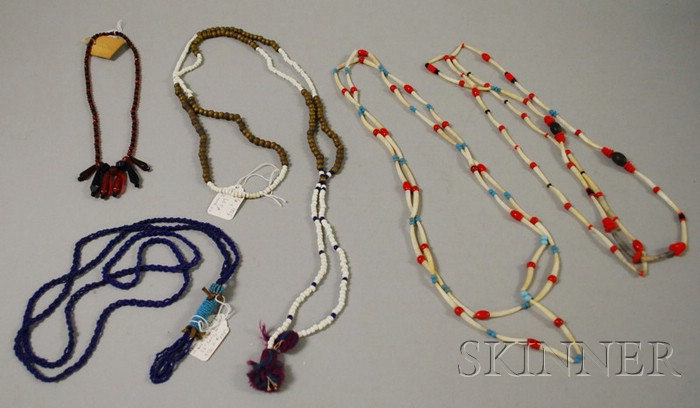 Five Native American Beaded, Quilled, and Brass Necklace.