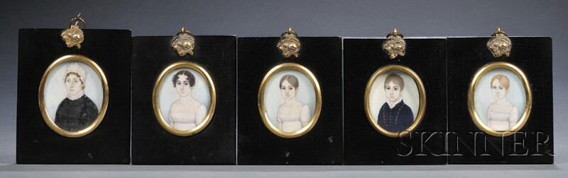 American School, Early 19th Century      Five Family Portrait Miniatures,  c. 1810.