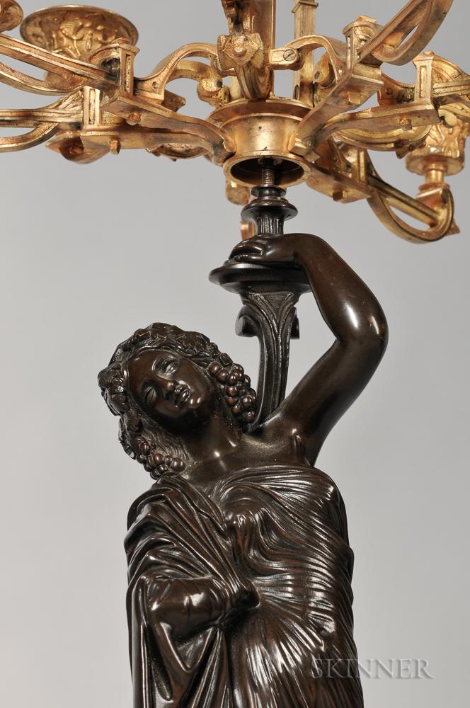 Pair of Empire Gilt-bronze Ten-light Candelabra