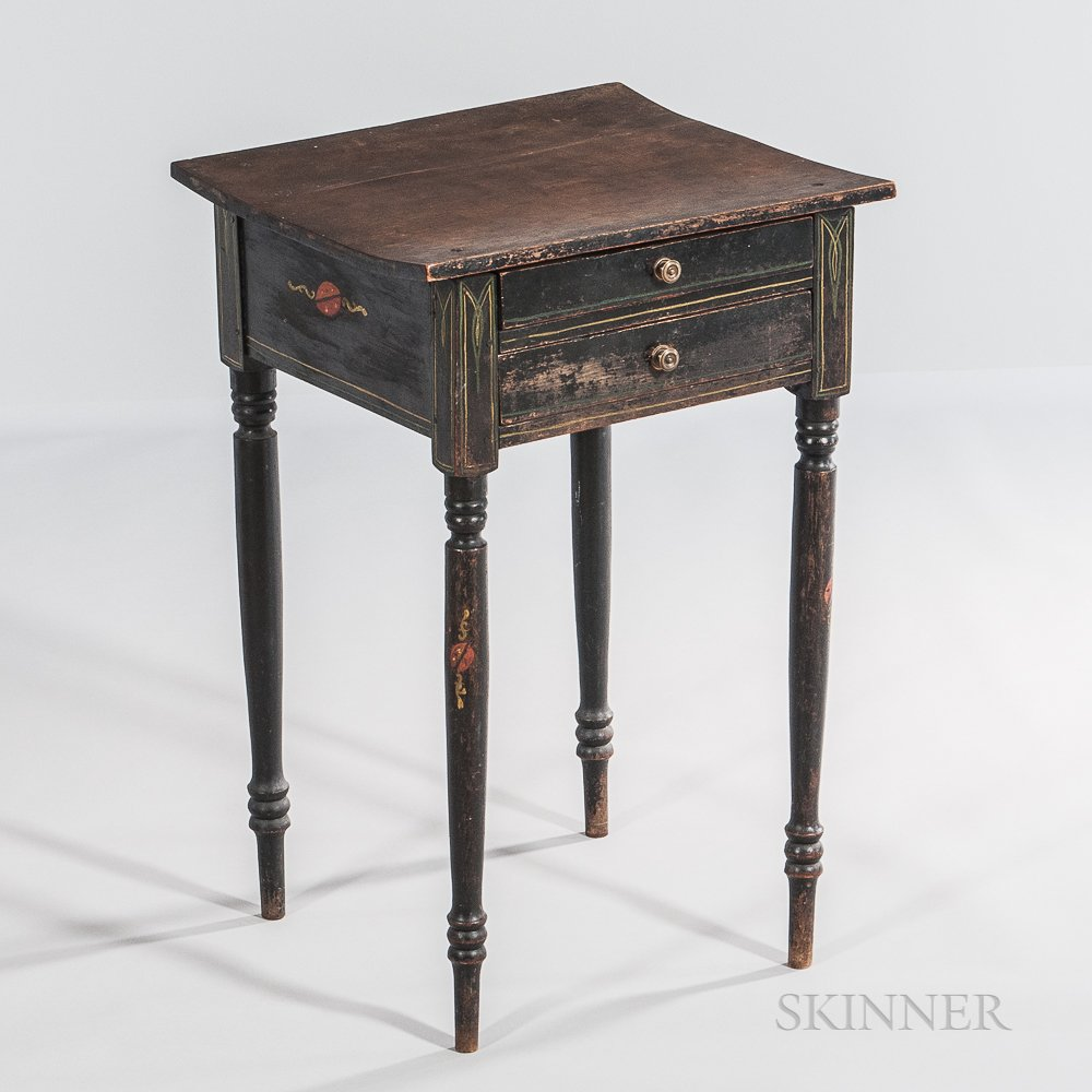Black-painted and Paint-decorated Two-drawer Stand