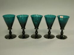 Set of Five Emerald Glass Wines.