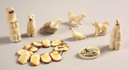 Nine Ivory Inuit Items