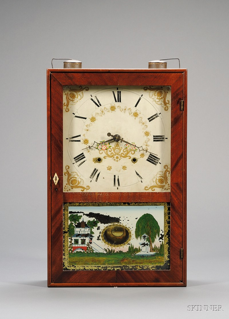 Cherry and Mahogany Box Clock by Eli Terry and Sons