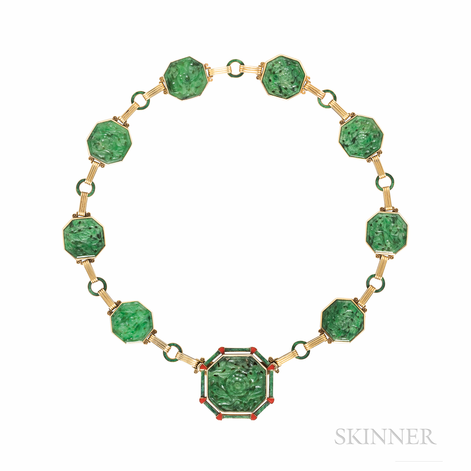 Art Deco Gold, Jade, and Enamel Necklace