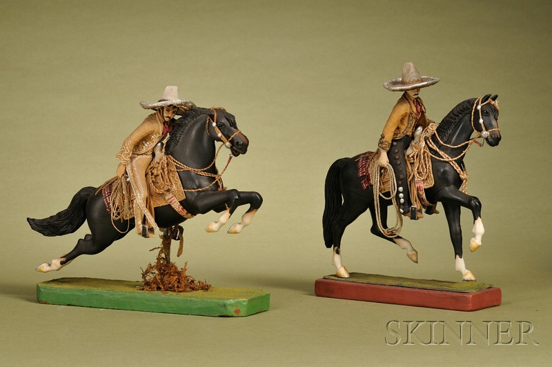 Two Mexican Cowboys on Horses