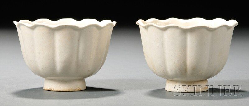 Pair of White Glazed Cups