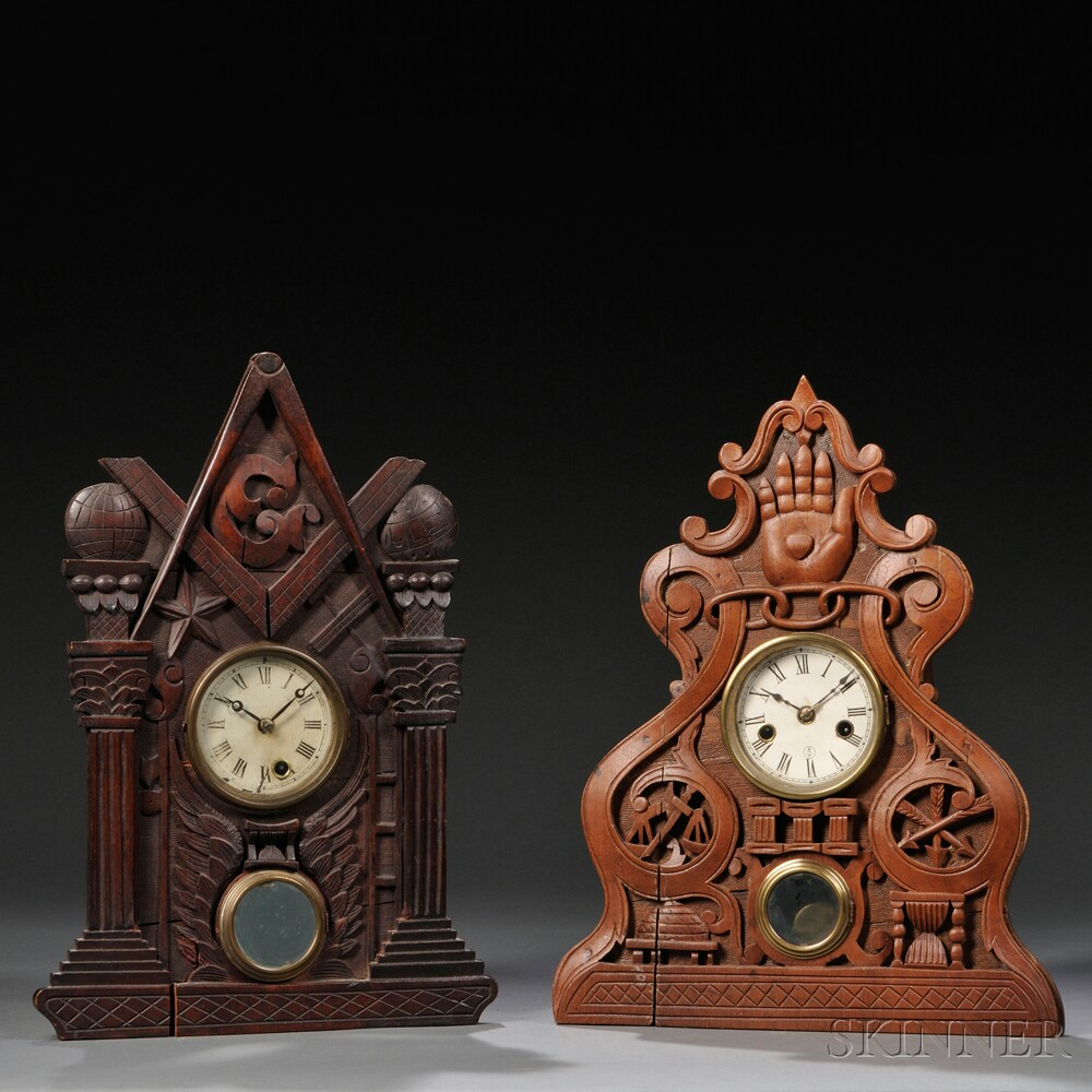 "Carved ""Masonic"" and ""Odd Fellow"" Shelf Clocks"