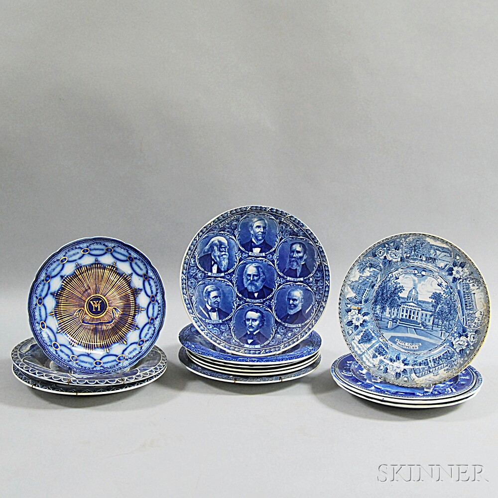 Thirteen Blue and White Transfer-decorated Plates