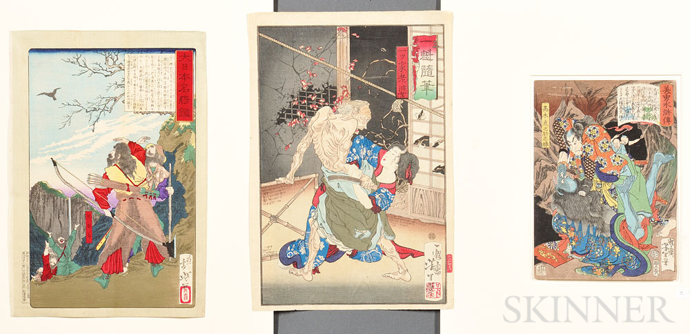 Three Yoshitoshi (1839-1892) Woodblock Prints